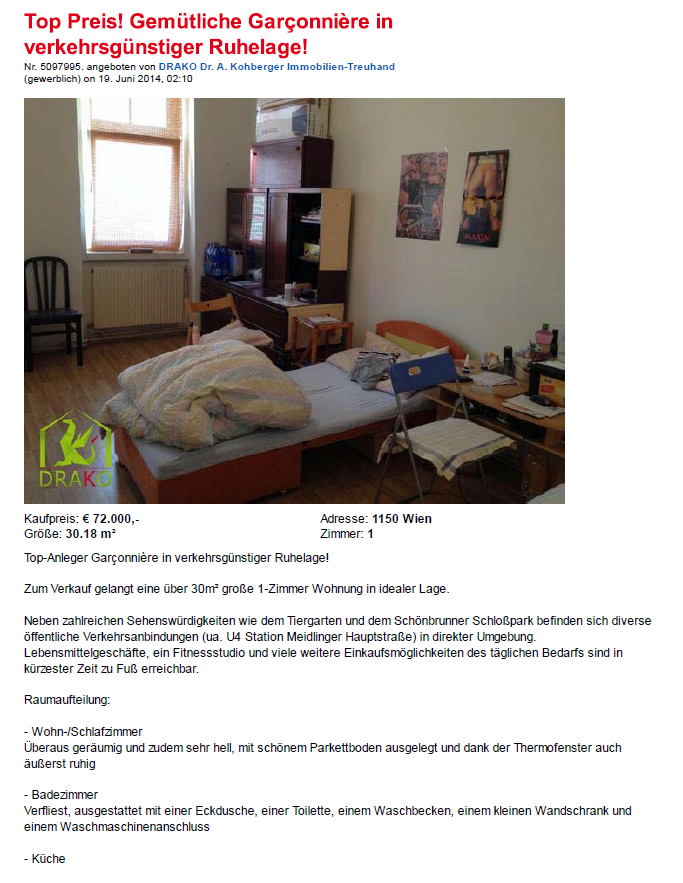 Studio Apartments For Sale And For Rent U2013 Examples Of Online Housing Ads In  Rudolfsheim Fünfhaus